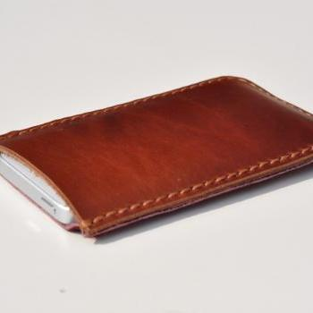 Leather  iPhone5 case/holster /cover/ (horsehide with hair) Warm Chrismas Gift color Red Wine