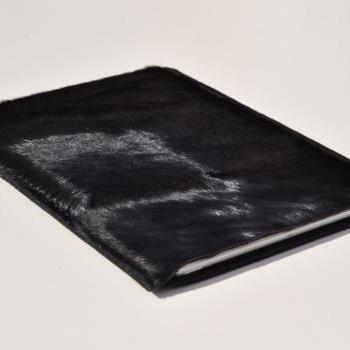 Leather iPad MINI case/holster /cover/ in black colour(horsehide with hair)